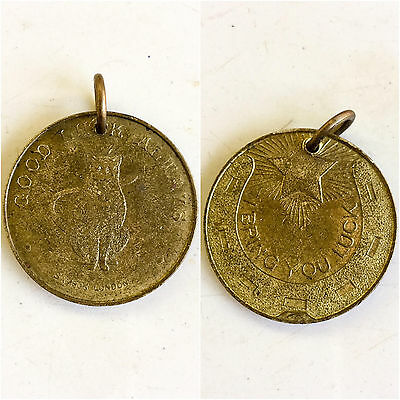 Scarce English Lucky coin Cat pendant Good Luck allways-I bring you luck""