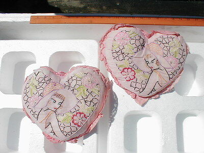 PAIR VINTAGE 1920'S LACE BOUDOIR EMBROIDERED PILLOW - HEART SHAPE w/ FLAPPERS