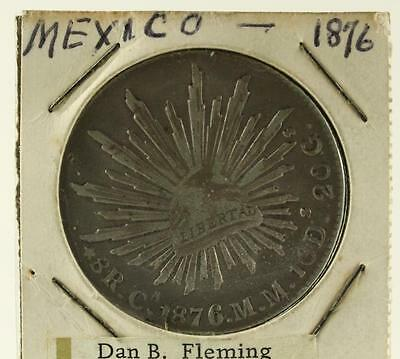 Antique Estate Coin 1876 90% 38MM Silver 8 REALES 2nd Republic Mexico Libertad