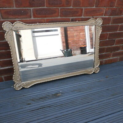 Vintage Gilt Framed Shaped Rectangular Wall Mirror, Beveled Mirror. 22 x 35 inch