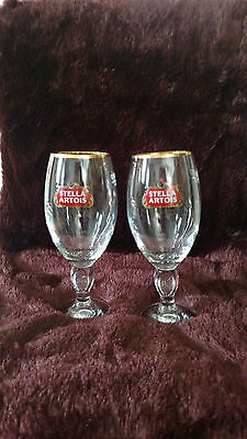 Stella Artois Chalice 33 CL Set Of Two (2) Glasses Beer Pub Bar Pint glass  NEW