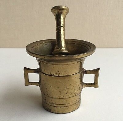 Antique Small Cast Brass Metal Mortar and Pestle Personal Apothecary Pharmacist