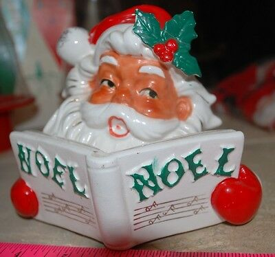 Vintage Christmas Ceramic Santa Lipper and Man Candle Holder Japan NOEL Box # 78