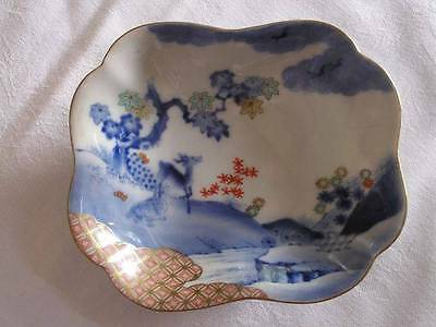 Antique Japanese Imari Fukagawa Koransha plate with deer 1880-1900 #3207