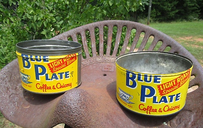 TWO Vintage 1 Lb. Blue Plate Coffee Tin Cans -Yellow & Blue w/ Blue Willow Cups