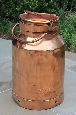 Antique French Country Copper Farm Farmhouse Milk Can Jug with Lid #1