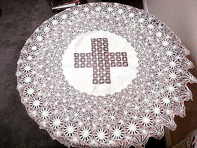 "SALE! Antique 33"" Rd TABLECLOTH~White Linen~Hand Made Maltese Tenerife LACE"