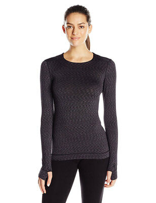 Cuddl Duds Women's Flex Fit Long Sleeve Crew Neck Black Novel Large New No Tags