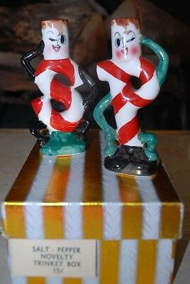 Vintage ceramic Salt and Pepper Christmas Candy Cane Shakers Box #79
