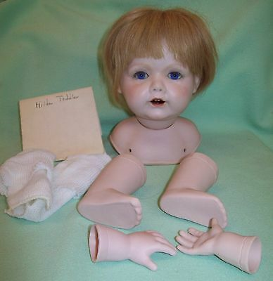 Vintage Reproduction HILDA TODDLER Bisque Doll Head Arms Legs Wig Ready to Make