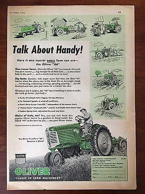 "Vintage 1952 Original Print Ad OLIVER 66 TRACTOR ""Talk About Handy"" Farming"