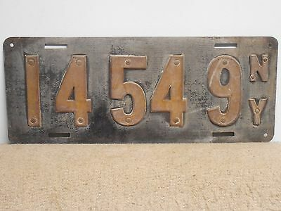 Original 1910 New York State License Plate