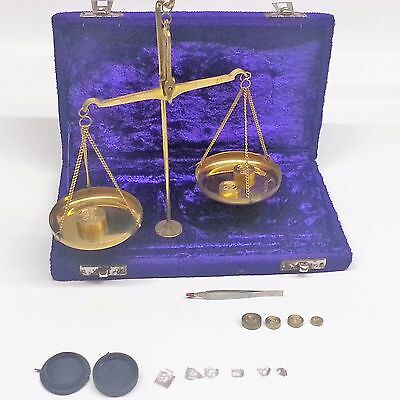 Antique Style 50 Gram Brass Balance Scale in Velvet box