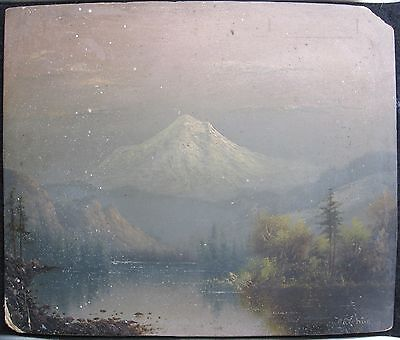 Antique 1890 American Mt Hood Or Oil On Board Painting Female Artist E Barchus