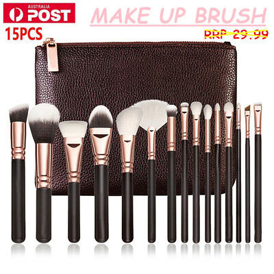 15PCS PRO Makeup Cosmetic Complete Eye Set Powder Rose Golden Brushes Set 2017