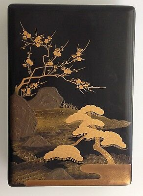 Antique Japanese Black Lacquer Letter Box with hand painted gold leaf landscape