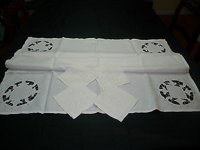 "Vintage 34"" Square White Linen Tablecloth Cutwork Insert Each Corner +4 Napkins"