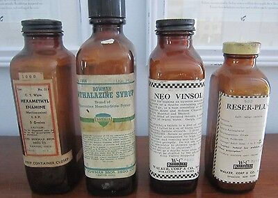 (4) Old Pharmacy Bottles ~ Piperazine, Reserpine, Douche ~ Amber Apothecary Jars