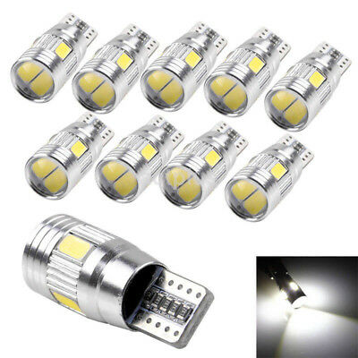 10 x T10 5630 6SMD W5W Car LED Width Light CANBUS No Error License Lamp Bulb