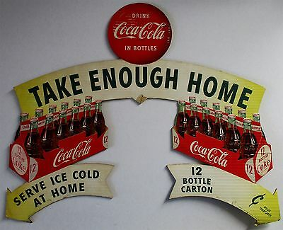 Original Doublesided Coca-Cola Cut-Out Cardboard Advertisement circa 1954