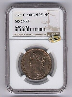 Great Britain Victoria 1882-H  Penny Coin, Uncirculated, Certified Ngc Ms64-Bn