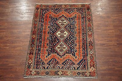 5X7 Persian Afshar Antique 1930's Birds Area Rug Hand-Knotted Wool (5.2 x 7.4)