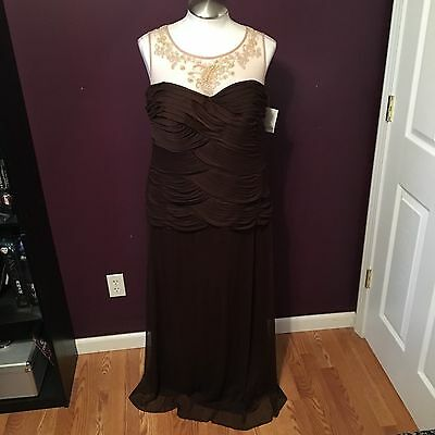 NWT Alex Evenings Brown Mother of the Bride Groom Formal Dress Women's Size 16W