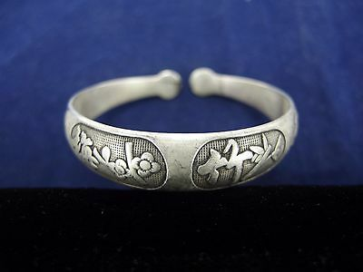 """Chinese Export 950 Fine Sterling Silver Cuff Bracelet Cherry Blossoms Horse 7"""""""
