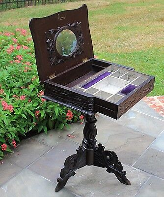 Antique French Oak Carved Black Forest Lift Top Sewing Table Box on Stand