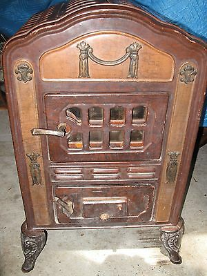 ANTIQUE VICTORIAN CAST IRON & ENAMEL PARLOR STOVE FURNACE w Art Deco Elements