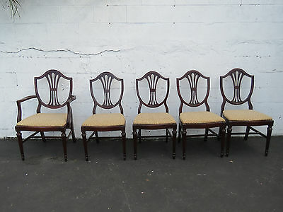 Set of 5 Shield Back Mahogany Dining Chairs 8561