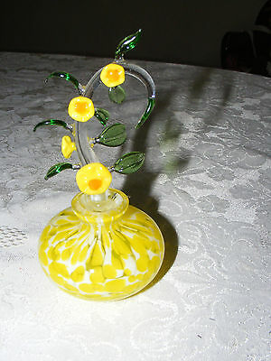 Vintage Murano Yellow Glass Perfume Bottle With Lovely Green Leasves and Flowers