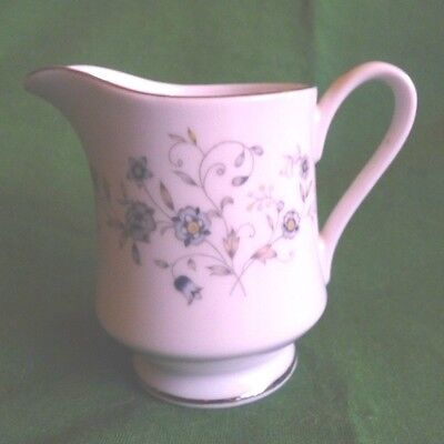 """Chantilly Acsons  Footed Creamer Blue Gray Flowers Fine China 6 oz 3 5/8"""""""