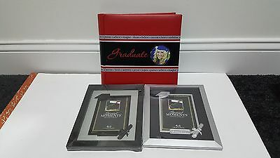 New Red/Black Graduation Photo Albums + 2x 4x6 Picture Frames