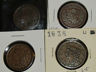 Lot of four mixed lot Large Cent 1851, 1854, 1846, 1838