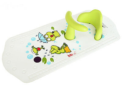 Baby Safety Bath Seat & Extra Long Non-Slip Bath Mat with Heat Sensitive Green