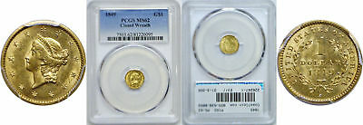 1849 $1 Gold Coin PCGS MS-62 Closed Wreath