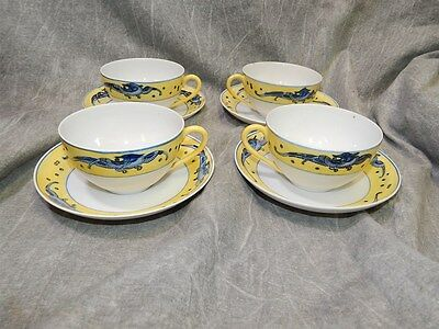 4 Crown Nippon Cups and Saucers with hand painted Dragons