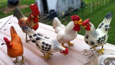 5 Lead Footed  Chickens For Toy Train Set Up
