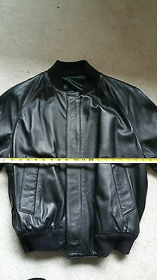 NWOT Burberry Black Leather Bomber Jacket made in England men's size small S new