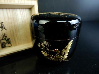 H4236:Japanese Wooden Lacquer ware TEA CADDY Natsume Jujube, Jyunkei made w/box