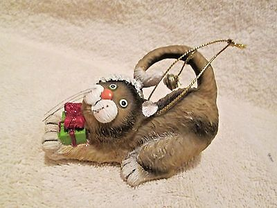 Cat Christmas ornament Santa hat tail bell gift on front paws resin UNBRANDED