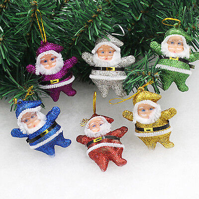 6pcs Christmas Xmas Santa Claus Ornament Xmas Hanging Decoration Decor Gift Toy
