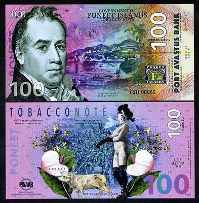 Poneet Islands 100 Kasutu, 2017, Limited Issue POLYMER UNC