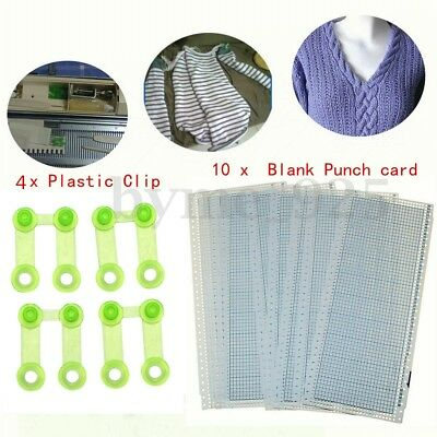 10Pcs Blank Punchcard 24 Stitchs For Brother Machine Knitting w/4 Plastic Clips