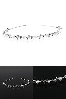 Women'S Wedding Bridal Crystal Rhinestone Pearl Decorated Crown Tiara Flower Hea