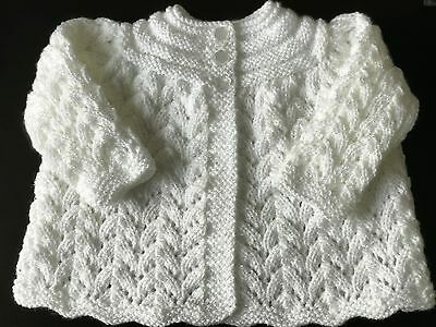 Hand knitted Baby  Girls White Shimmer  Matinee Cardigan ,  fits 0-3 mths 'NEW'