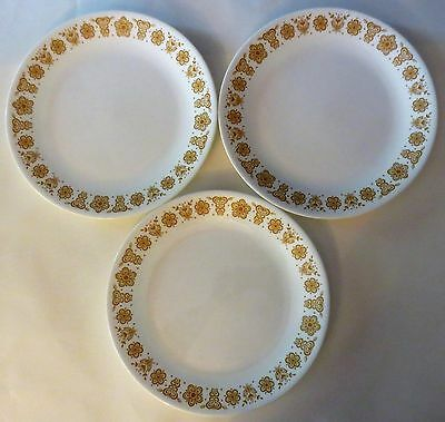 """3- Corelle by CORNING BUTTERFLY GOLD 10 1/2"""" Dinner Plates"""