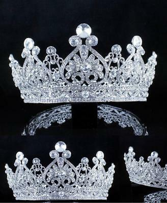 Janefashions Vintage Full Crown Clear Austrian Crystal Rhinestone Tiara Pageant