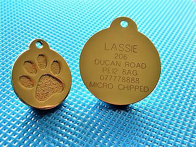 Gold colour Round Paw Dog Pet ID Tags Disc Dog tag or Cat tag engraved free